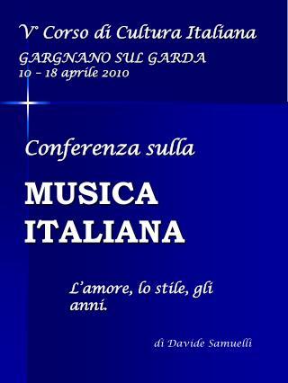 Conferenza sulla MUSICA ITALIANA
