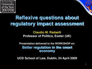 Reflexive questions about regulatory impact assessment