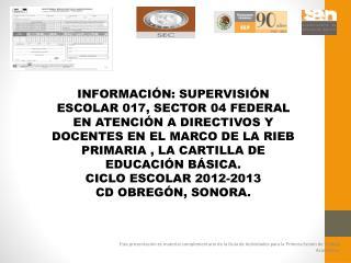 Cartilla de Educación Básica. Instrumento de registro e información.