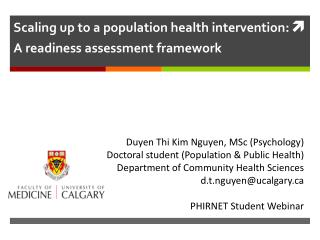 Scaling up to a population health intervention:  A readiness assessment framework