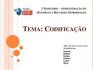 I Seminário – Administração de Materiais e Recursos Patrimoniais Tema: Codificação