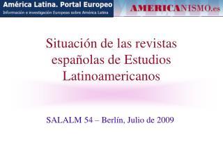 Situación de las revistas españolas de Estudios Latinoamericanos