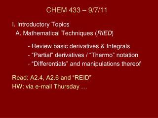 CHEM 433 – 9/7/11