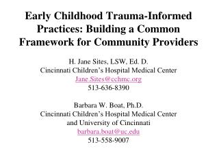 Trauma informed practices for children :  Seeing  t he world through the eyes of the child