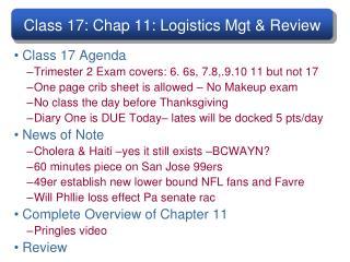 Class 17: Chap 11: Logistics Mgt & Review