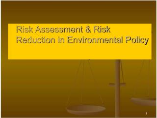 Risk Assessment & Risk Reduction in Environmental Policy