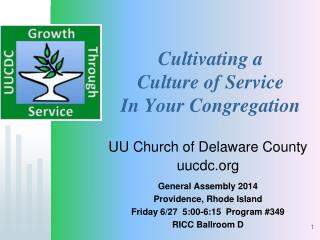 Cultivating a  Culture of Service  In Your Congregation