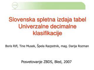 Slovenska spletna izdaja tabel Univerzalne decimalne klasifikacije