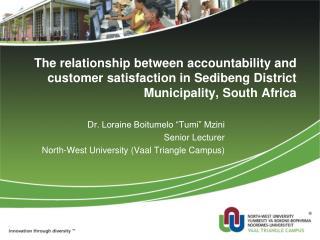 """Dr. Loraine Boitumelo """"Tumi"""" Mzini  Senior Lecturer  North-West University (Vaal Triangle Campus)"""