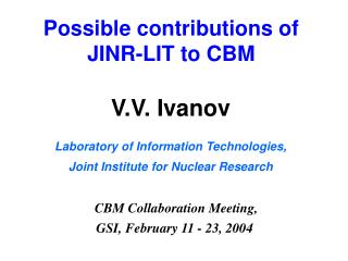 Possible contributions of JINR-LIT to CBM