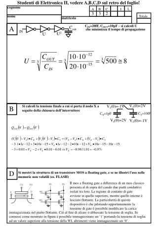C IN =20fF, C OUT =10pF – si calcoli U   che minimizza il tempo di propagazione