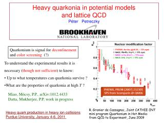 Heavy quarkonia in potential models  and lattice QCD P é ter   Petreczky