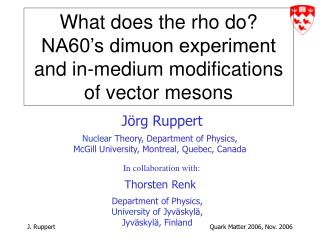 What does the rho do?  NA60's dimuon experiment and in-medium modifications of vector mesons