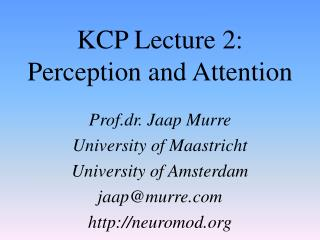 KCP Lecture 2: Perception and Attention