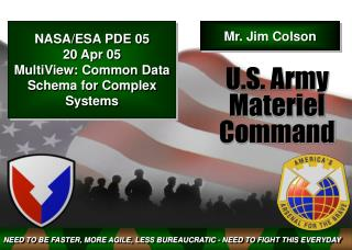 NASA/ESA PDE 05 20 Apr 05 MultiView: Common Data Schema for Complex Systems
