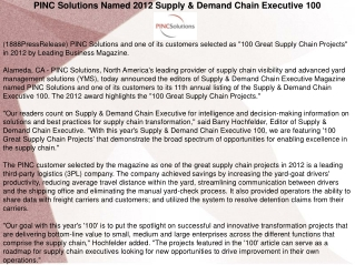PINC Solutions Named 2012 Supply & Demand Chain Executive 10