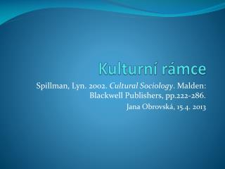 Kulturní rámce