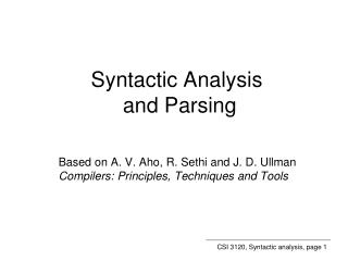 Syntactic Analysis and Parsing