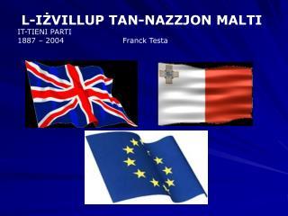 L-I Ż VILLUP TAN-NAZZJON MALTI IT-TIENI PARTI 1887 – 2004                       Franck Testa