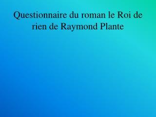 Questionnaire du roman le Roi de rien de Raymond Plante