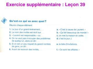 Exercice suppl émentaire : Leçon 39