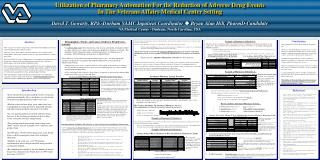 Utilization of Pharmacy Automation For the Reduction of Adverse Drug Events