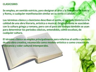 CLASICISMO :