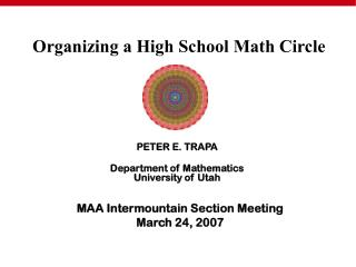 MAA Intermountain Section Meeting March 24, 2007