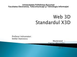 Web 3D  Standardul  X3D