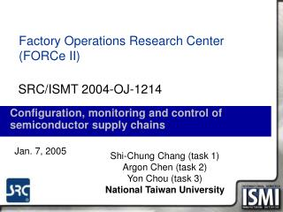 Configuration, monitoring and control of semiconductor supply chains
