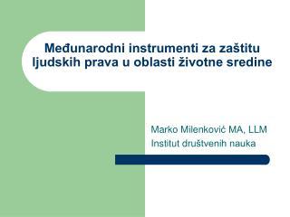 Međunarodni instrumenti za zaštitu ljudskih prava u oblasti životne sredine