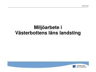 Miljöarbete i  Västerbottens läns landsting