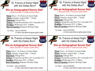 St. Francis of Assisi Night  with the Dallas Burn!