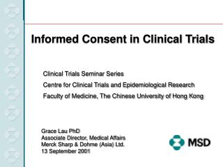 Clinical Trials Seminar Series Centre for Clinical Trials and Epidemiological Research