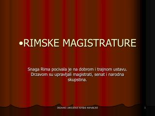 RIMSKE MAGISTRATURE