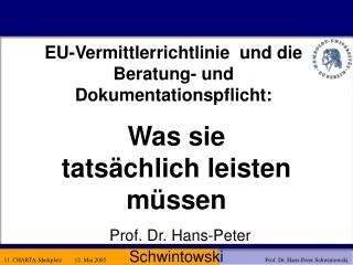 EU-Vermittlerrichtlinie  und die Beratung- und Dokumentationspflicht: