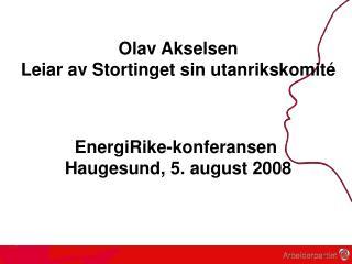 Olav Akselsen Leiar av Stortinget sin utanrikskomité EnergiRike-konferansen