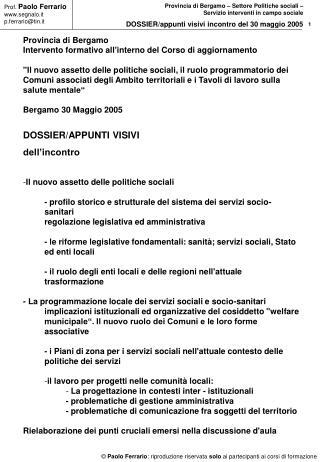 Provincia di Bergamo Intervento formativo all'interno del Corso di aggiornamento