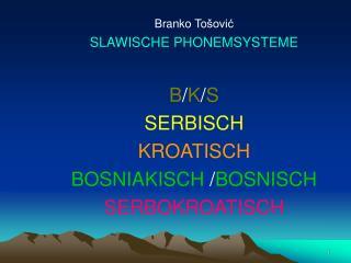 Branko To šović SLAWISCHE PHONEMSYSTEME B / K / S SERBISCH KROATISCH BOSNIAKISCH / BOSNISCH