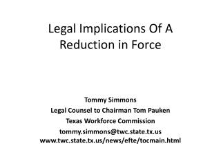Legal Implications Of A Reduction in Force