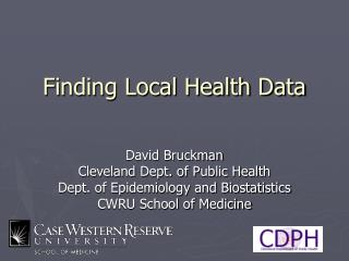 Finding Local Health Data
