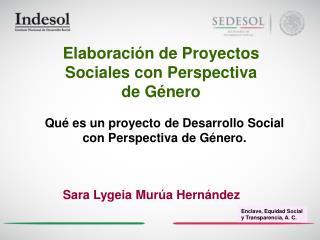Elaboración de Proyectos  Sociales con Perspectiva  de Género
