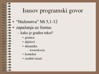 Isusov programski govor