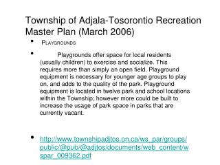 Township of Adjala-Tosorontio Recreation Master Plan (March 2006)