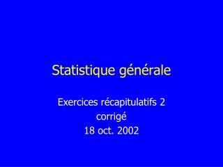 Statistique générale