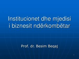 Institucionet dhe mjedisi i biznesit ndërkombëtar