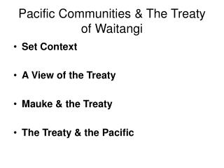 Pacific Communities & The Treaty of Waitangi