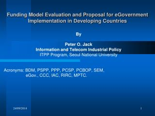 Funding Model Evaluation and Proposal for eGovernment Implementation in Developing Countries