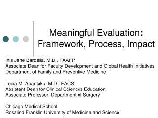 Meaningful Evaluation : Framework, Process, Impact