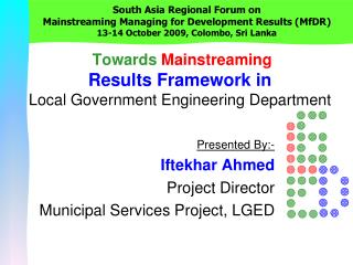Towards Mainstreaming Results Framework in Local Government Engineering Department